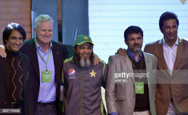 Former Pakistani cricketer Rameez Raja former Australian batsman Dean Jones and former Pakistani cricketers Mushtaq Ahmed Moin Khan and Wasim Akram...