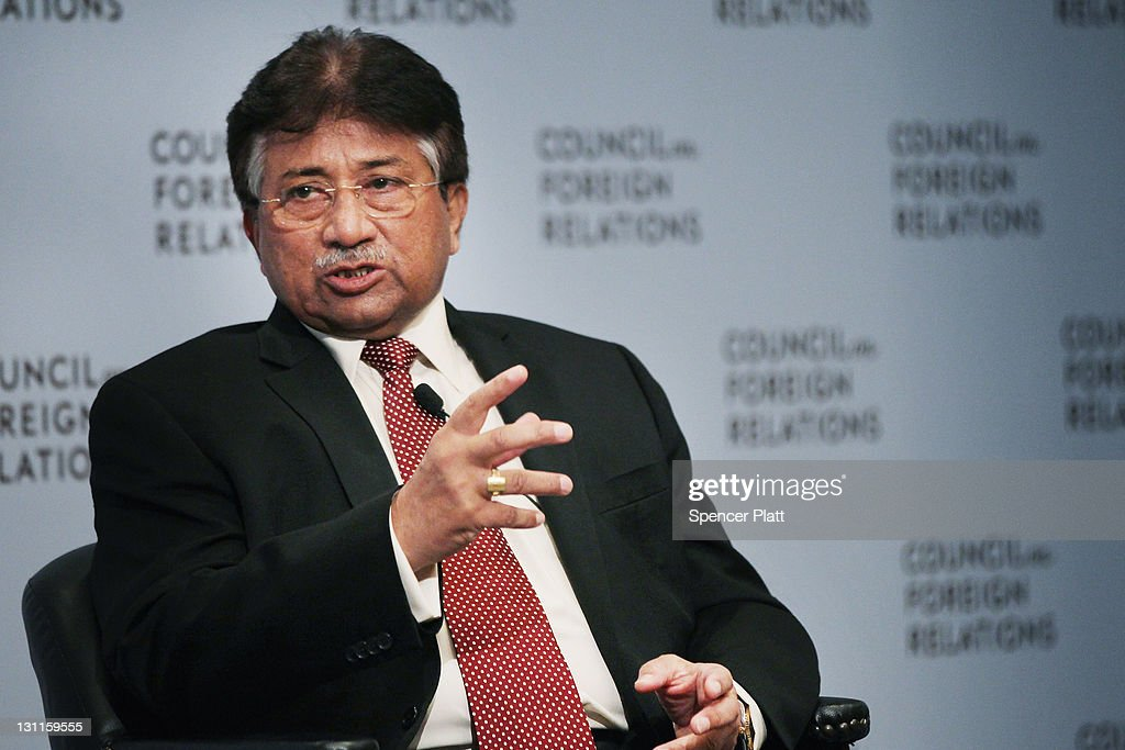 Former Pakistani president General <a gi-track='captionPersonalityLinkClicked' href=/galleries/search?phrase=Pervez+Musharraf&family=editorial&specificpeople=121550 ng-click='$event.stopPropagation()'>Pervez Musharraf</a> speaks at the Council on Foreign Relations on November 2, 2011 in New York City. General Musharraf, having launched his own political party the All Pakistan Muslim League (APML), is planning to return to Pakistan this spring and contest the country's 2013 elections.