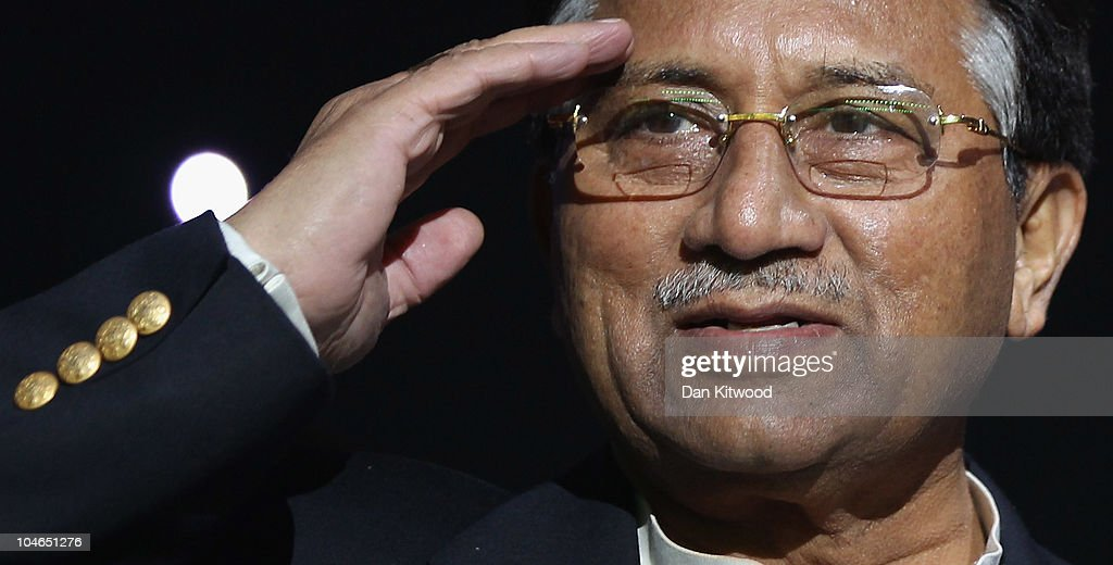 Former Pakistani President, <a gi-track='captionPersonalityLinkClicked' href=/galleries/search?phrase=Pervez+Musharraf&family=editorial&specificpeople=121550 ng-click='$event.stopPropagation()'>Pervez Musharraf</a> addresses members of the UK Pakistani Community on October 2, 2010 in Birmingham, England. Musharraf has recently announced his return to front line politics, with the launch of a new political party, the 'All Pakistan Muslim League'.