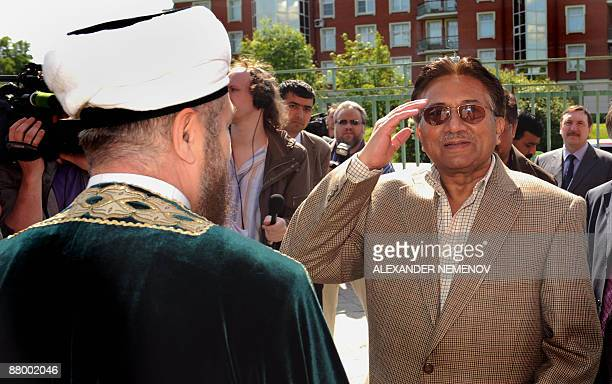 Former Pakistani president Pervez Musharraf salutes while visiting a Muslim cultural center in Moscow on May 27 2009 Russian gas export monopoly...