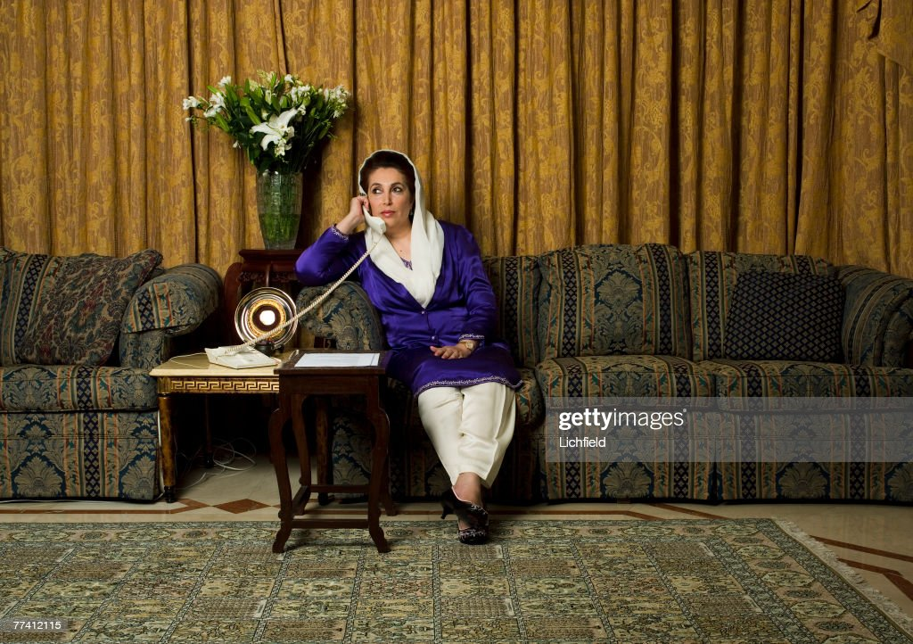 Former Pakistani Prime Minister and Opposition Leader <a gi-track='captionPersonalityLinkClicked' href=/galleries/search?phrase=Benazir+Bhutto&family=editorial&specificpeople=202012 ng-click='$event.stopPropagation()'>Benazir Bhutto</a> at her home in Dubai on 4th December 2004. (Photo by Lichfield/Getty Images).