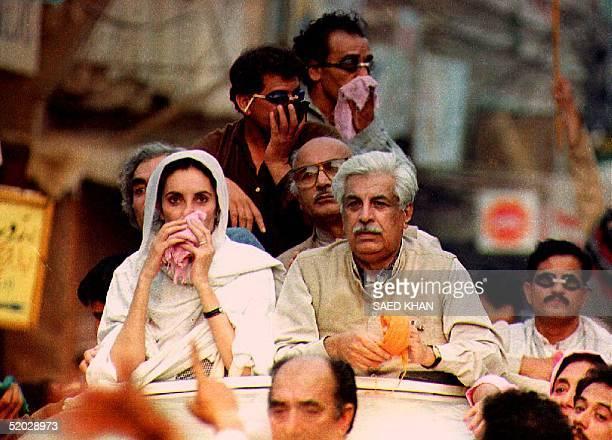 Former Pakistani Prime Minister Benazir Bhutto and Ghulam Mustafa Jatoi former caretaker prime minister and member of the National Democratic...