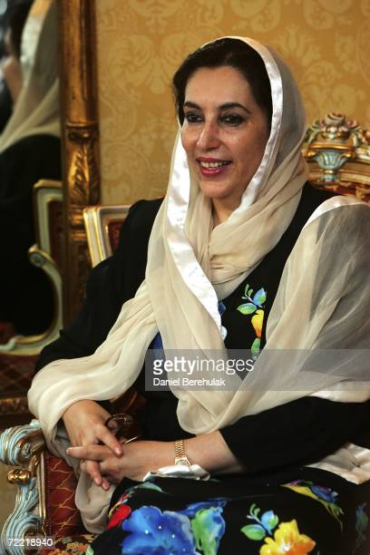 Former Pakistani Prime Minister Benazir Bhutto looks on as she meets with Mawaz Sharif on October 19 2006 in London England Former Pakistani Prime...