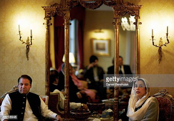 Former Pakistani Prime Minister's Mawaz Sharif and Benazir Bhutto meet on October 19 2006 in London England Former Pakistani Prime Minister Benazir...