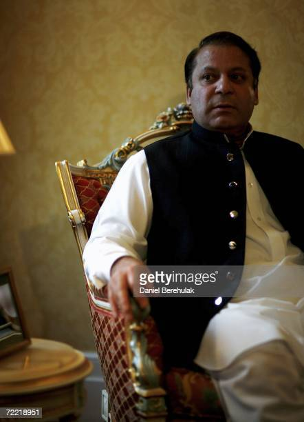 Former Pakistani Prime Minister's Mawaz Sharif looks on during a meeting with Benazir Bhutto on October 19 2006 in London England Former Pakistani...