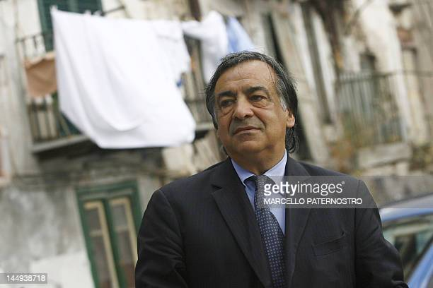 Former Palermo's mayor Leoluca Orlando poses on May 16 2012 in a street of his city Twenty years after Italian judge Giovanni Falcone was...