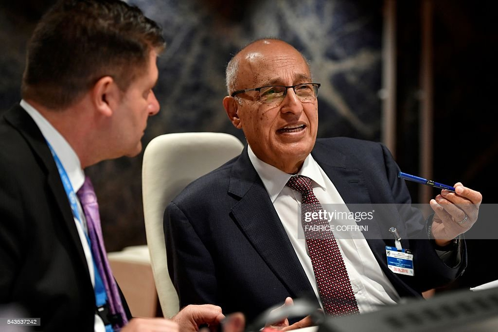 Former Palestinian chief negotiator and member of the Central Committee of Fatah, Nabil Shaath, attends a UN conference on the Israeli and Palestinian peace process on June 29, 2016 at the United Nations offices in Geneva. COFFRINI