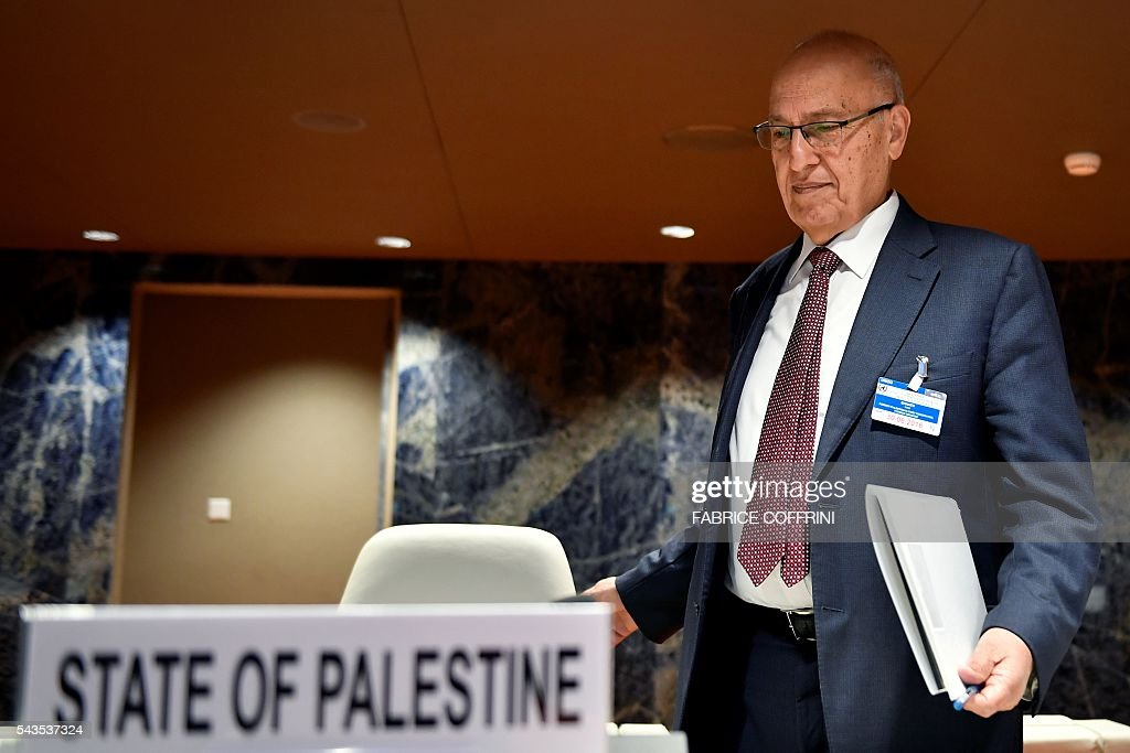 Former Palestinian chief negotiator and member of the Central Committee of Fatah, Nabil Shaath arrives to attend a UN conference on the Israeli and Palestinian peace process on June 29, 2016 at the United Nations offices in Geneva. COFFRINI