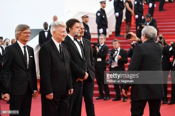 Former Palme D'Or winners Bille August David Lynch Nanni Moretti Laurent Cantet and Claude Lelouch attend the 70th Anniversary of the 70th annual...