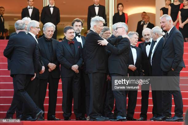 Former Palme D'Or winners Ken Loach CostaGavras Cristian Mungiu Nanni Moretti and David Lynch Director of the Cannes Film Festival Thierry Fremaux...