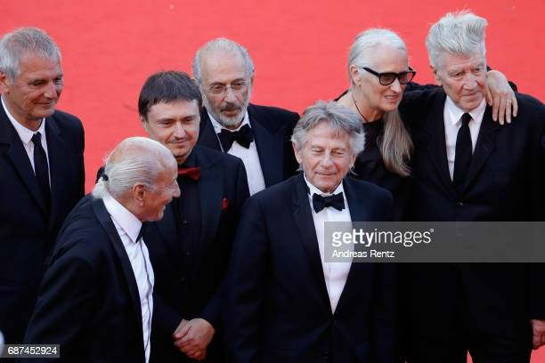 Former Palme D'Or winners Laurent Cantet Mohammed LakhdarHamina Cristian Mungiu Jerry Schatzberg Roman Polanski Jane Campion and David Lynch attend...