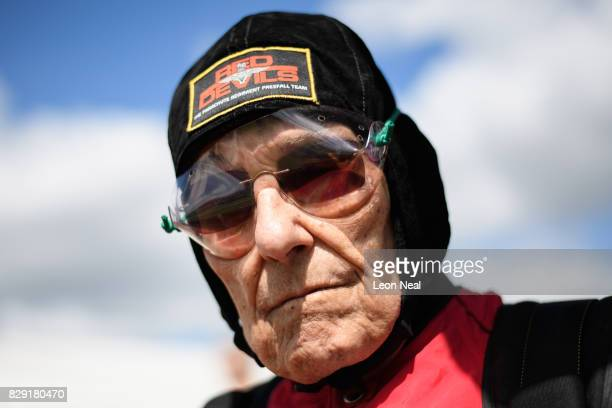 Former paratrooper Ted Pieri looks on before completing a skydive at the Old Sarum airfield on August 10 2017 in Salisbury England Chelsea Pensioner...