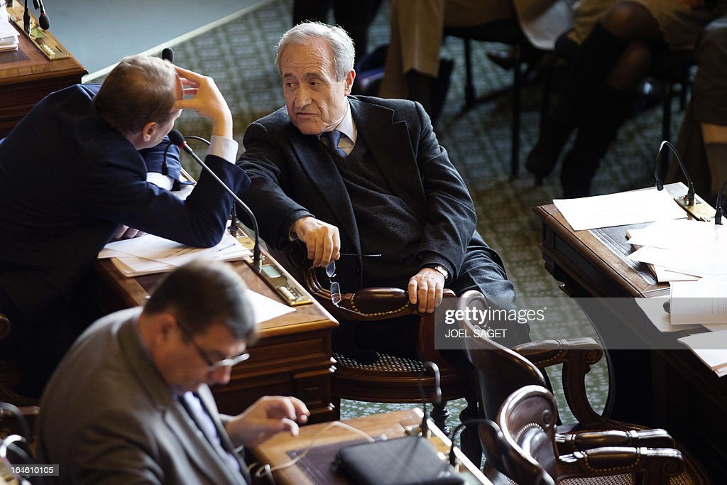 Former Paris' mayor Jean Tiberi is pictured prior to take part in Paris' municipal council to rule on the application for the 2013-2014 schoolyear of a reform law increasing the class time of primary school students, on March 25, 2013, at Paris' city hall.