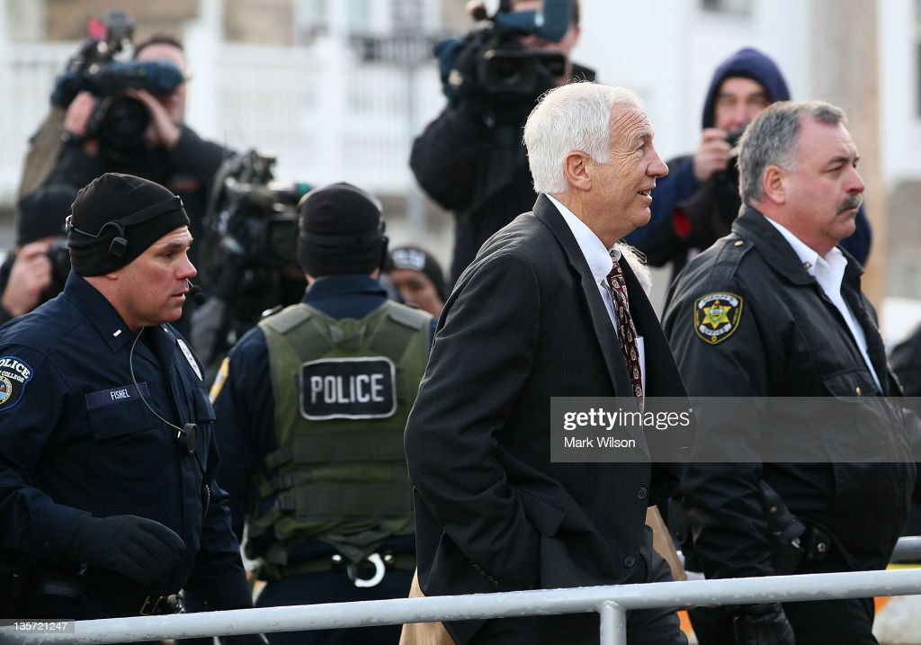 Former Penn State assistant football coach <a gi-track='captionPersonalityLinkClicked' href=/galleries/search?phrase=Jerry+Sandusky&family=editorial&specificpeople=8608969 ng-click='$event.stopPropagation()'>Jerry Sandusky</a> arrives at Centre County Courthouse, on December 13, 2011 in Bellefonte, Pennsylvania. Sandusky, who was charged with sexual abuse involving 10 boys he met through the Second Mile nonprofit organization, will face his accusers during today's preliminary hearing.