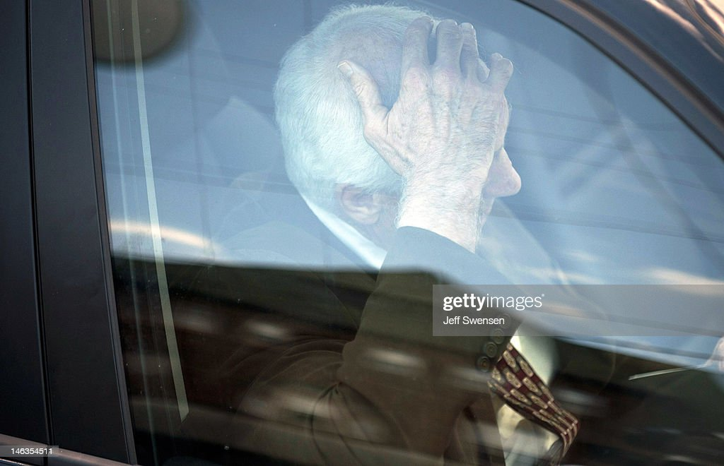 Former Penn State assistant football coach Jerry Sandusky leaves the Centre County Courthouse after the fourth day of his child sex abuse trial on June 14, 2012, in Bellefonte, Pennsylvania. Sandusky is charged with 52 criminal counts of alleged sexual abuse of children.