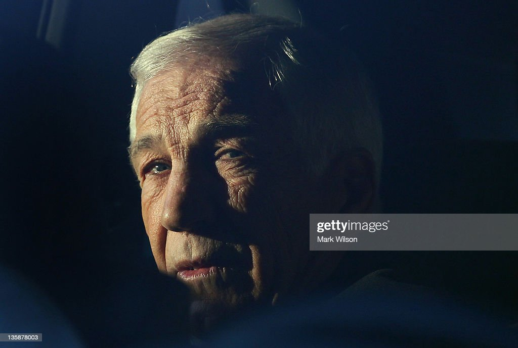 Former Penn State assistant football coach <a gi-track='captionPersonalityLinkClicked' href=/galleries/search?phrase=Jerry+Sandusky&family=editorial&specificpeople=8608969 ng-click='$event.stopPropagation()'>Jerry Sandusky</a> sits in a car while leaving the Centre County Courthouse, on December 13, 2011 in Bellefonte, Pennsylvania. Sandusky, who was charged with sexual abuse involving 10 boys he met through the Second Mile nonprofit organization, appeared briefly at today's preliminary hearing.