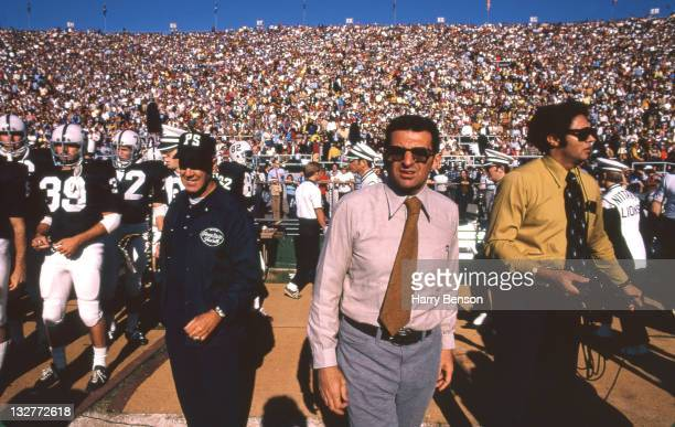 Former Penn State coach Joe Paterno is photographed with Penn State football team in 1973 at State College Pennsylvania
