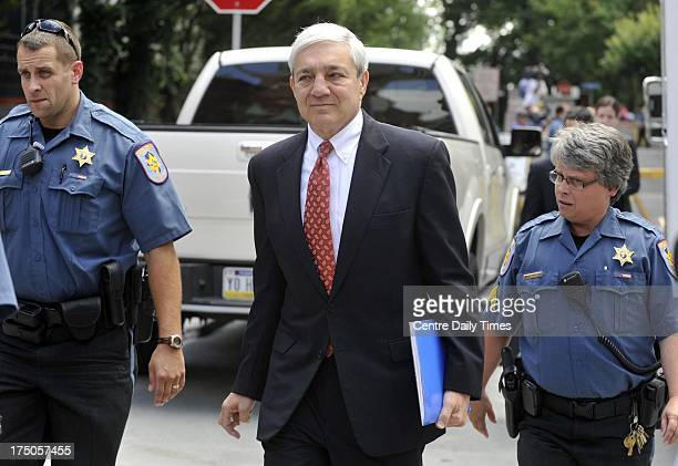 Former Penn State president Graham Spanier accused of covering up Jerry Sandusky abuse allegations leaves his preliminary hearing in Harrisburg...