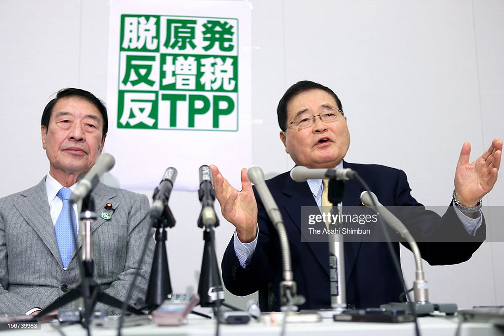 Former People's New Party leader Shizuka Kamei (R) and former agriculture minister Masahiko Kamei poses for photographs during a press conferece to announce their new party name, The Party that anti TPP (Trans-Pacific Partnership), anti nulcear plant and anti consumption tax hike come true, on November 19, 2012 in Tokyo, Japan.