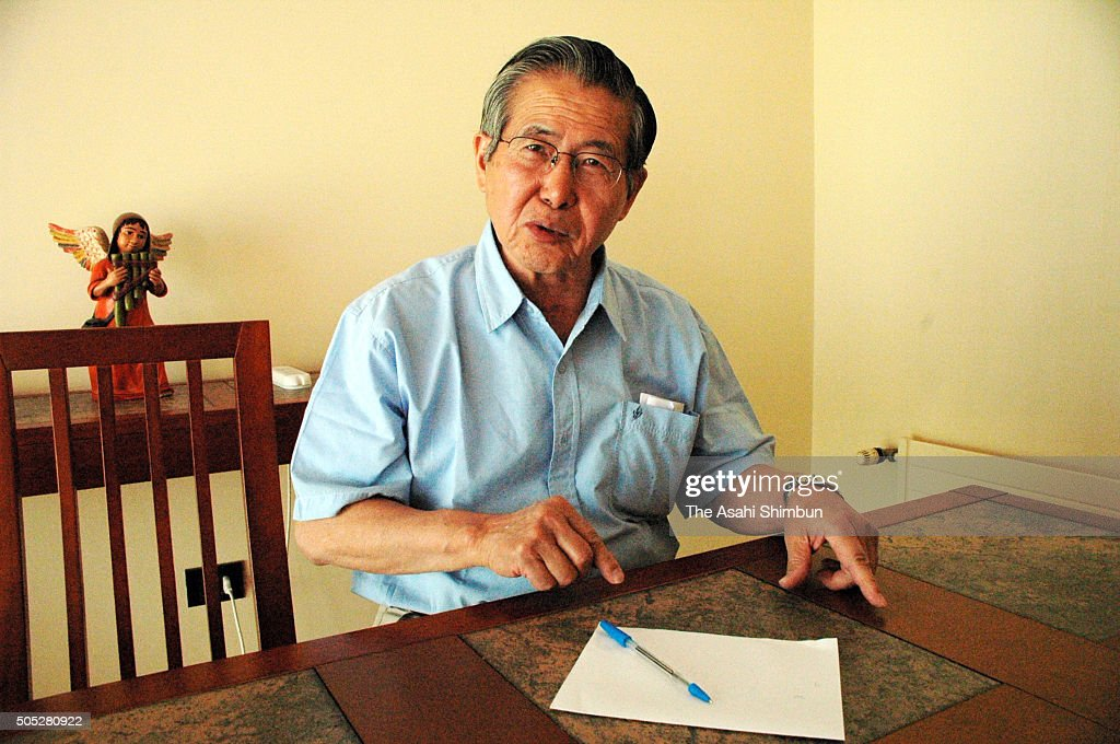 Former Peruvian President <a gi-track='captionPersonalityLinkClicked' href=/galleries/search?phrase=Alberto+Fujimori&family=editorial&specificpeople=206244 ng-click='$event.stopPropagation()'>Alberto Fujimori</a> speaks during the Asahi Shimbun interview on December 9, 2006 in Santiago, Chile.