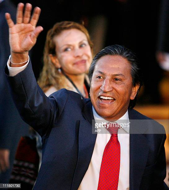 Former Peruvian president and candidate for the Peru Posible party Alejandro Toledo arrives with his wife Eliane Karp at a hotel to attend a debate...