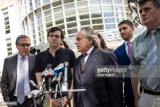 Former pharmaceutical executive Martin Shkreli and lead defense attorney Benjamin Brafman speak to the press after the jury issued a verdict at the...