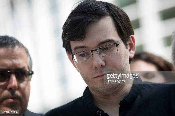 Former pharmaceutical executive Martin Shkreli pauses while speaking to the press after the jury issued a verdict in his case at the US District...