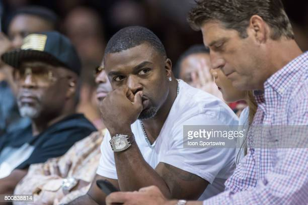 Former Philadelphia Eagles star running back Brian Westbrook watches the action during a BIG3 Basketball League game on June 25 2017 at Barclays...