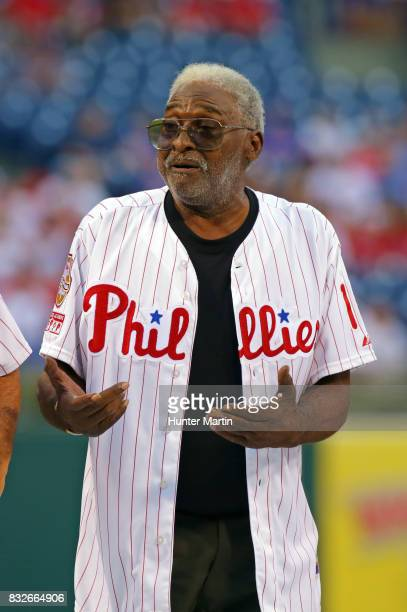 Former Philadelphia Phillie Dick Allen stands on the field during the Wall of Fame ceremony before a game between the Philadelphia Phillies and the...