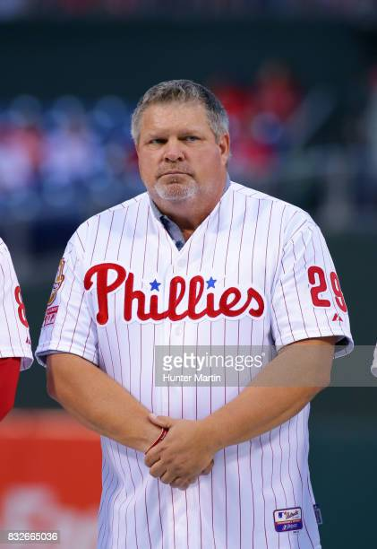 Former Philadelphia Phillie John Kruk stands on the field during the Wall of Fame ceremony before a game between the Philadelphia Phillies and the...