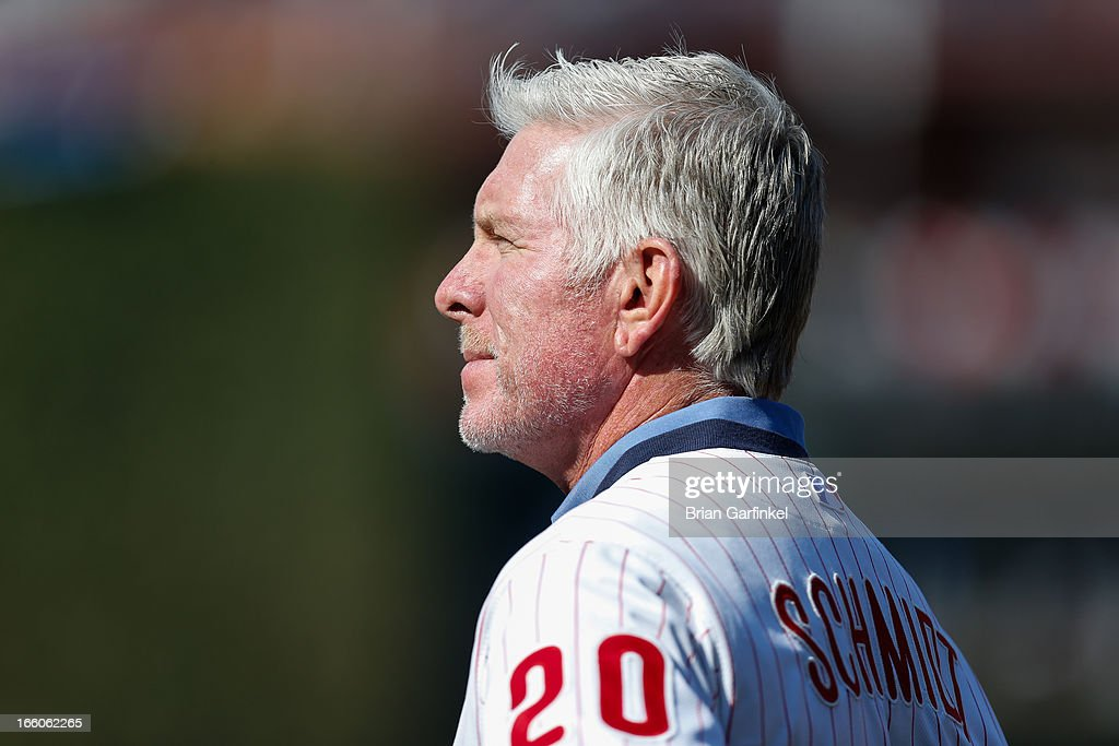 Former Philadelphia Phillies third baseman <a gi-track='captionPersonalityLinkClicked' href=/galleries/search?phrase=Mike+Schmidt+-+Baseball+Player&family=editorial&specificpeople=204523 ng-click='$event.stopPropagation()'>Mike Schmidt</a> is seen before the Philadelphia Phillies Home Opener against the Kansas City Royals at Citizens Bank Park on April 5, 2013 in Philadelphia, Pennsylvania. Kansas City won 13-4.