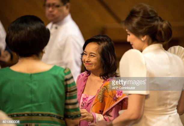 Former Philippine president and congresswoman Gloria Arroyo arrives to attend the 17th Congress second regular session at the House of...