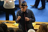 Former Philippine president Fidel Ramos gestures as he arrives to attend the State of the Nation Address by President Rodrigo Duterte at Congress in...