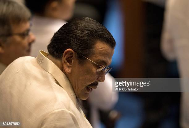 Former Philippine president Joseph Estrada arrives at the House of Representatives in Manila on July 24 to attend Philippine President Rodrigo...