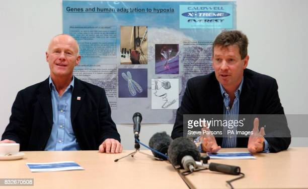 Former Phones 4u boss John Caudwell and expedition leader of Xtreme Everest Dr Mike Grocott speak at a press conference for the Xtreme Everest...