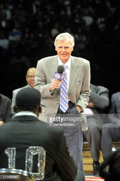Former Pistons general manager Jack McCloskey speaks to Dennis Rodman during the retirement ceremony of his Detroit Pistons on April 1 2011 at The...