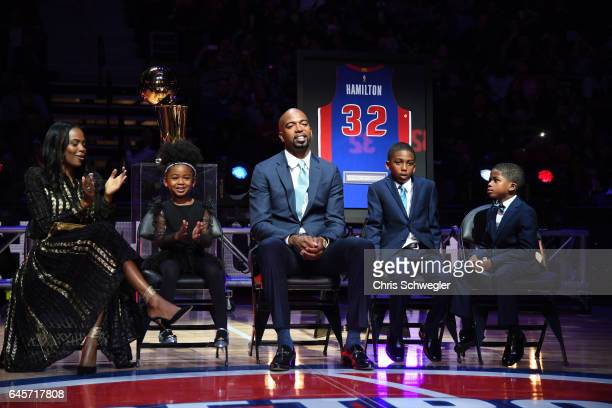 Former Pistons player Richard Hamilton is seen during a ceremony to retire his number during halftime between the Boston Celtics and the Detroit...