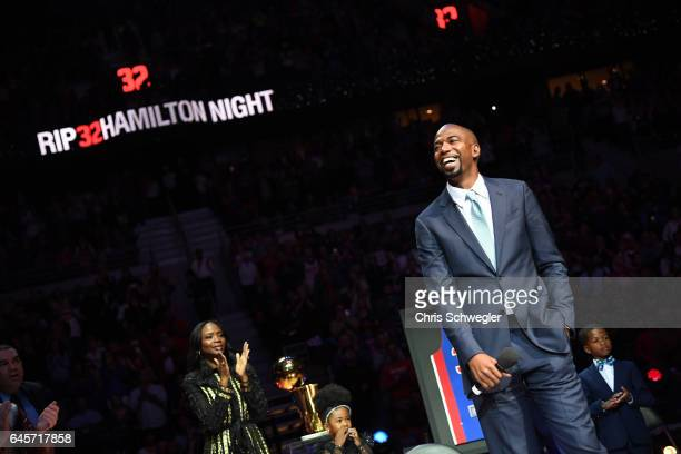 Former Pistons player Richard Hamilton speaks during a ceremony to retire his number during halftime between the Boston Celtics and the Detroit...