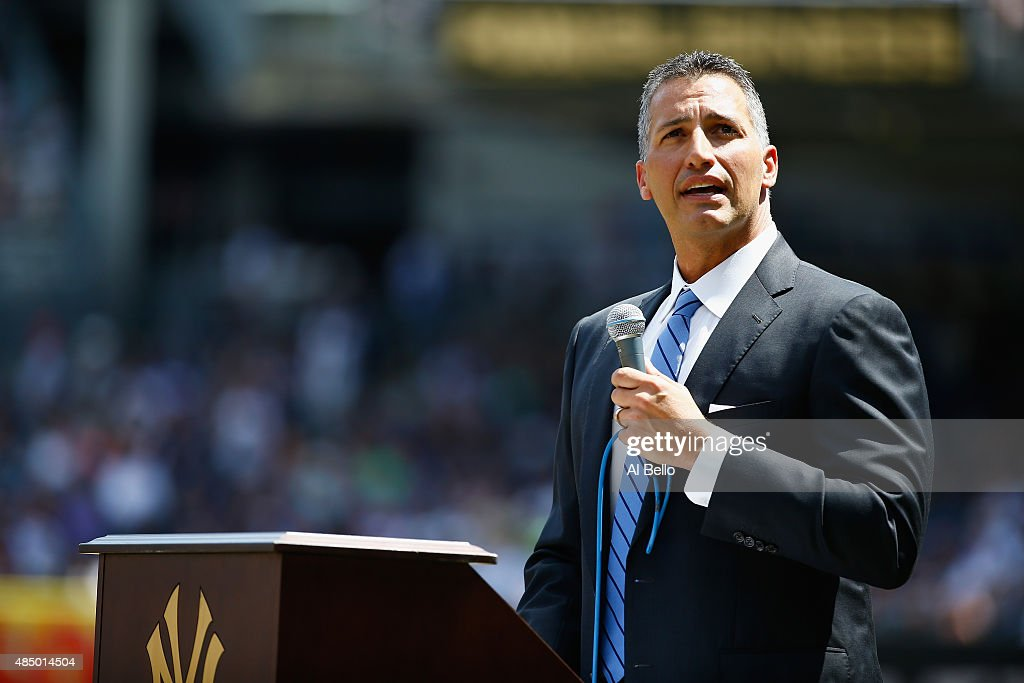 Former pitcher <a gi-track='captionPersonalityLinkClicked' href=/galleries/search?phrase=Andy+Pettitte&family=editorial&specificpeople=201753 ng-click='$event.stopPropagation()'>Andy Pettitte</a> of the New York Yankees speaks to the crowd after having his number retired before the game against the Cleveland Indiand at Yankee Stadium on August 23, 2015 in New York City.