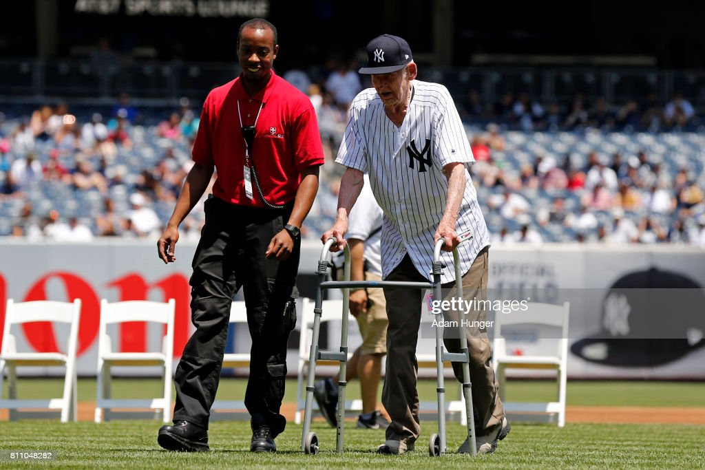 Former pitcher Don Larsen of the New York Yankees is introduced during the New York Yankees 71st Old Timers Day game before the Yankees play against the Texas Rangers at Yankee Stadium on June 25, 2017 in the Bronx borough of New York City.