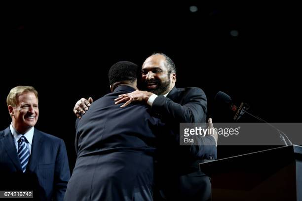 Former Pittsburgh Steelers Jerome Bettis and Franco Harris react after TJ Watt was picked overall by the Pittsburgh Steelers during the first round...