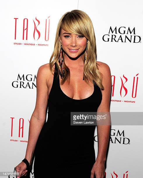 Former Playboy model Sara Underwood arrives at the Tabu Ultra Lounge at the MGM Grand Hotel/Casino on June 29 2012 in Las Vegas Nevada