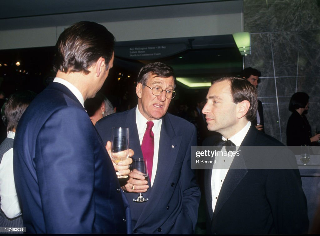 Former player agent Alan Eagleson talks with the new NHL commissioner <a gi-track='captionPersonalityLinkClicked' href=/galleries/search?phrase=Gary+Bettman&family=editorial&specificpeople=215089 ng-click='$event.stopPropagation()'>Gary Bettman</a> circa 1993.