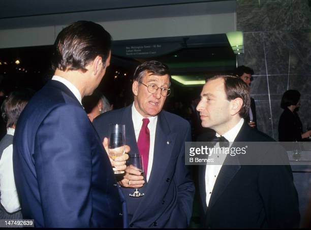Former player agent Alan Eagleson talks with the new NHL commissioner Gary Bettman circa 1993