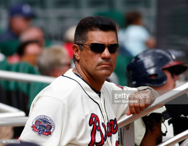 Former player and First Base Coach Eddie Perez during the MLB game between the Atlanta Braves and the Miami Marlins on August 6 2017 at SunTrust Park...
