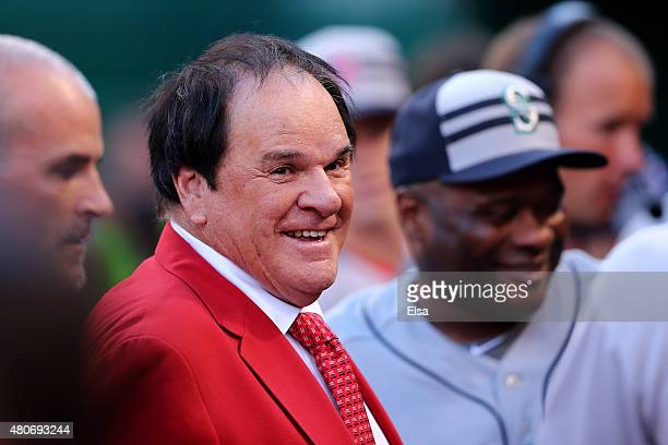 Former player and manager Pete Rose looks on prior to the 86th MLB AllStar Game at the Great American Ball Park on July 14 2015 in Cincinnati Ohio