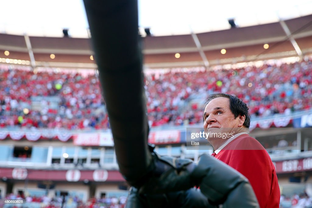 Former player and manager Pete Rose looks on prior to the 86th MLB All-Star Game at the Great American Ball Park on July 14, 2015 in Cincinnati, Ohio.
