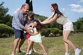 Former player and rugby coach Philippe SaintAndre is photographed with his wife Patricia and their children Jules and Paloma at their home for Paris...