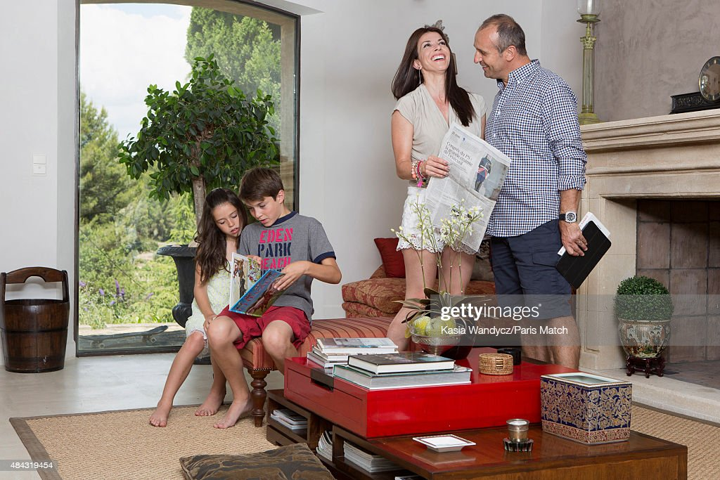 Former player and rugby coach Philippe Saint-Andre is photographed with his wife Patricia and their children Jules and Paloma at their home for Paris Match on June 17, 2015 near Toulon, France.