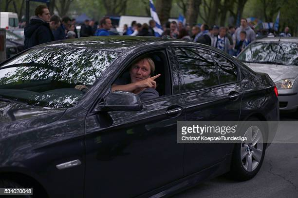 Former player Ansgar Brinkmann on the way to the stadium prior to the Second Bundesliga playoff second leg match between MSV Duisburg and Wuerzburger...